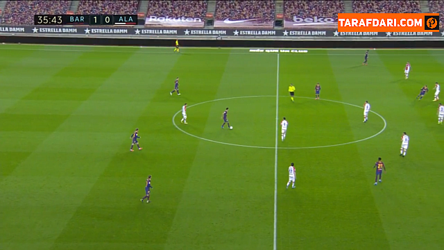 گل لیونل مسی به آلاوز که در شرایط آفساید به ثمر رسید (بارسلونا 1-0 آلاوز)
